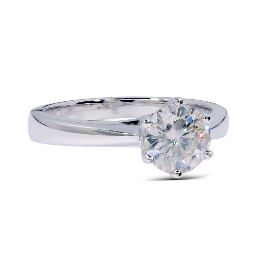 The Brooklyn Ring Series - 14K White Gold Eternal Moissanite 1.5CT Round Brilliant Cut Solitaire Engagement Ring - VIDEO BELOW