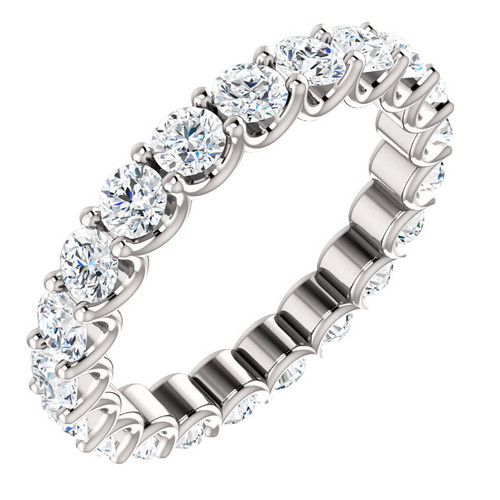 Eternity Band - 14K White Gold Eternal Moissanite 2CTW Round Brilliant Cut