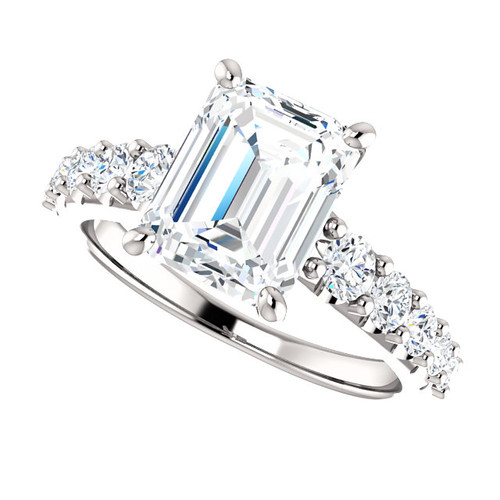 The Taylor Ring Series - Eternal Moissanite 2.45CT Emerald Cut Engagement Ring