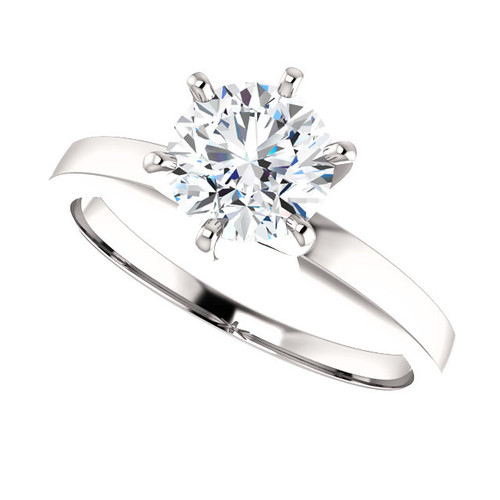 1CT = 6.5mm Forever One Moissanite Round Cut 6 Prong Solitaire - SPECIAL SALE!
