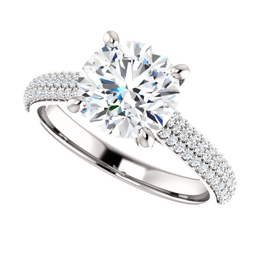 "The Addie Ring Series - Eternal Moissanite 8mm = 2CT Center Round ""Diamond Cut"" EF Color & Pave Diamond Sides"