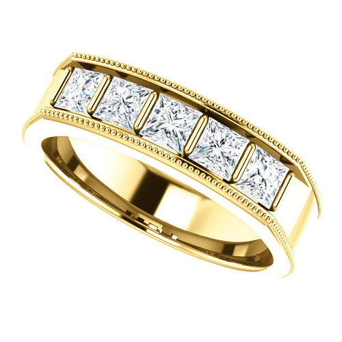 The Roman Ring Series  -  Mens Eternal Moissanite Princess Cut 5 Stone  Wedding Band In 14K