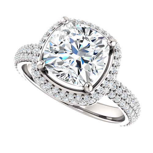 The Zoe Ring Series - Eternal Moissanite 8mm = 2.40CT Center Cushion Cut GH Color & Pave Halo /  Diamond Sides