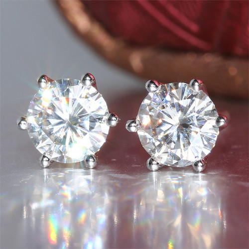 Eternal Moissanite 1CTW Stud Earrings in 14K White, Yellow or Rose Gold