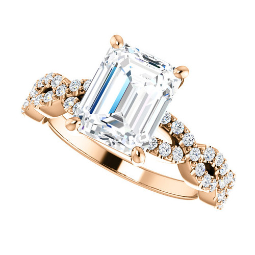 The Aurora Ring Series - Eternal Moissanite 2.45CT Center Emerald Cut Engagement Ring