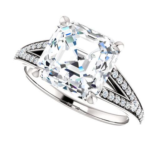 The Zena Ring Series - Eternal Moissanite 4CT Center Asscher Cut Engagement Ring