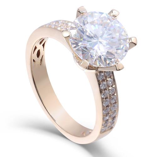 The Laruen Ring Series - Eternal Moissanite 3CT Center Round Brilliant Cut Engagement Ring