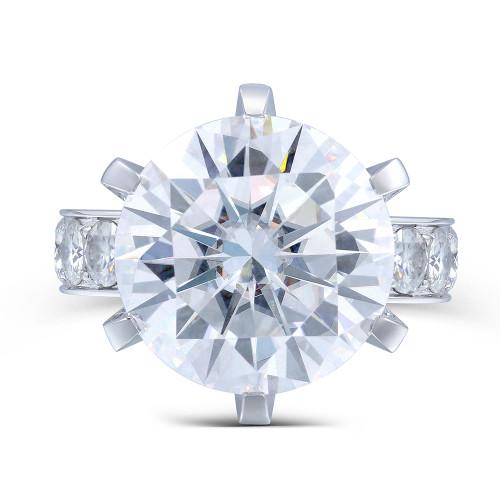 The Bradley Series Ring - Eternal Moissanite 10CT = 14mm Round Brilliant Cut Engagement Ring - VIDEO BELOW