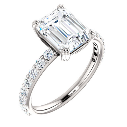 The Beverly Ring Series - Eternal  Moissanite 2.45CT Center Emerald Cut with Diamond Sides