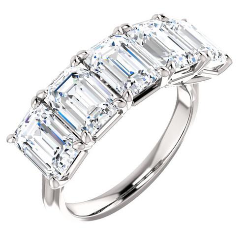 Eternal Moissanite 5 Stone Emerald Cut Wedding Anniversary Band 14K - 5CTW