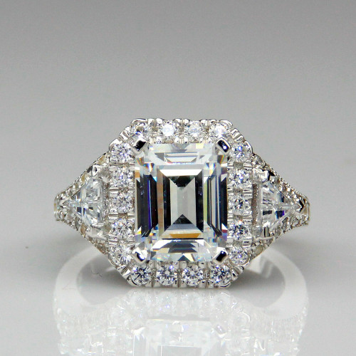 2.45CT Center NSCD Simulated Diamond Emerald Cut Halo Engagement Ring