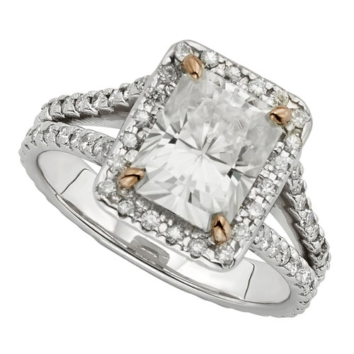 The Joan Forever One 2.70CT Radiant Cut Moissanite Halo Engagement Ring!