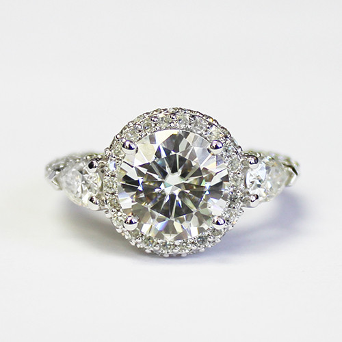 The Celeste Ring Series - Forever One 3.5CT Round Brilliant Cut Moissanite Halo Engagement Ring!