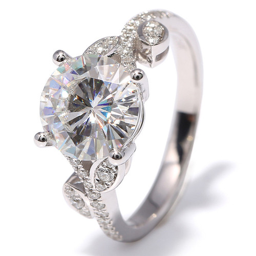 The Shay Ring Series - Eternal Moissanite 3CT Round Brilliant Cut & Moissanite Accents Engagement Ring