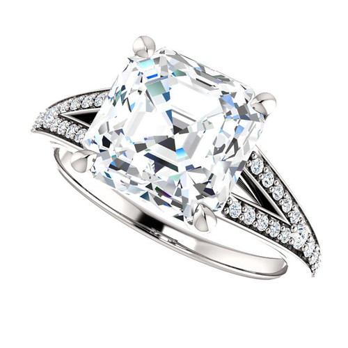 The Zena Ring Series - Eternal Moissanite 2.70CT Center Asscher Cut Engagement Ring