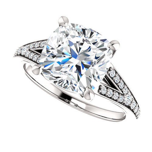 The Zena Ring Series - Eternal Moissanite 3.30CT Center Cushion Cut Engagement Ring