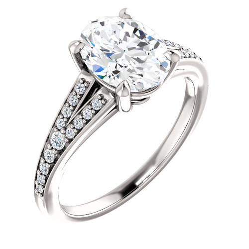The Zena Ring Series - Eternal Moissanite 2.10CT Center Oval Cut Engagement Ring