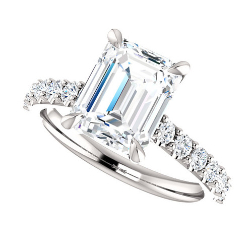 The Amira Ring Series - Eternal Moissanite 2.45CT Emerald Cut - Cathedral Lab Grown Diamond Accented Engagement Ring