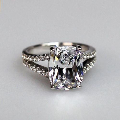3.85 CTTW 3CT CENTER NSCD Cushion Cut Simulated Diamond Split Shank Engagement Ring in Sterling Silver