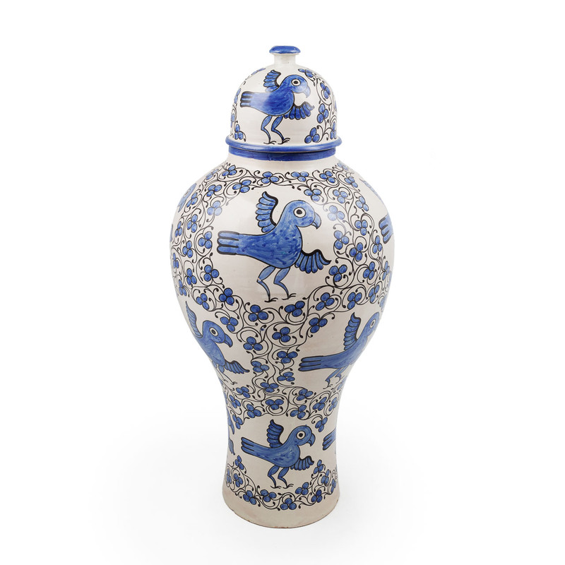Fes Ceramic Urn from Morocco - The Fes Ceramic Urn 97cm in blue is stunning, traditional ceramic Urn hand painted in Fes, Morroco. this piece stands 97cm tall and features intricate hand painted birds with blue and black accents.