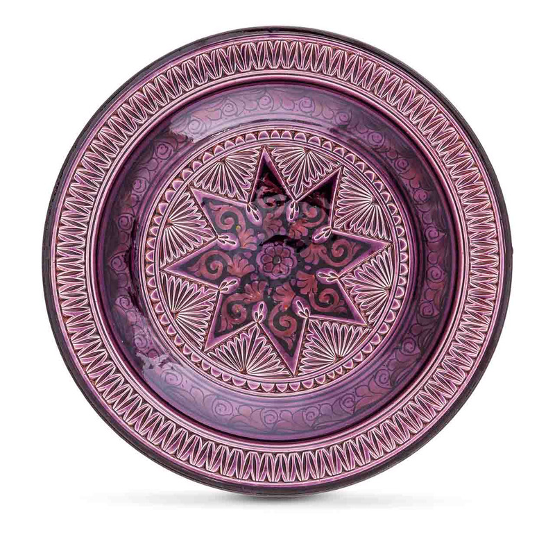 Safi Moroccan bowl purple glazed ceramic