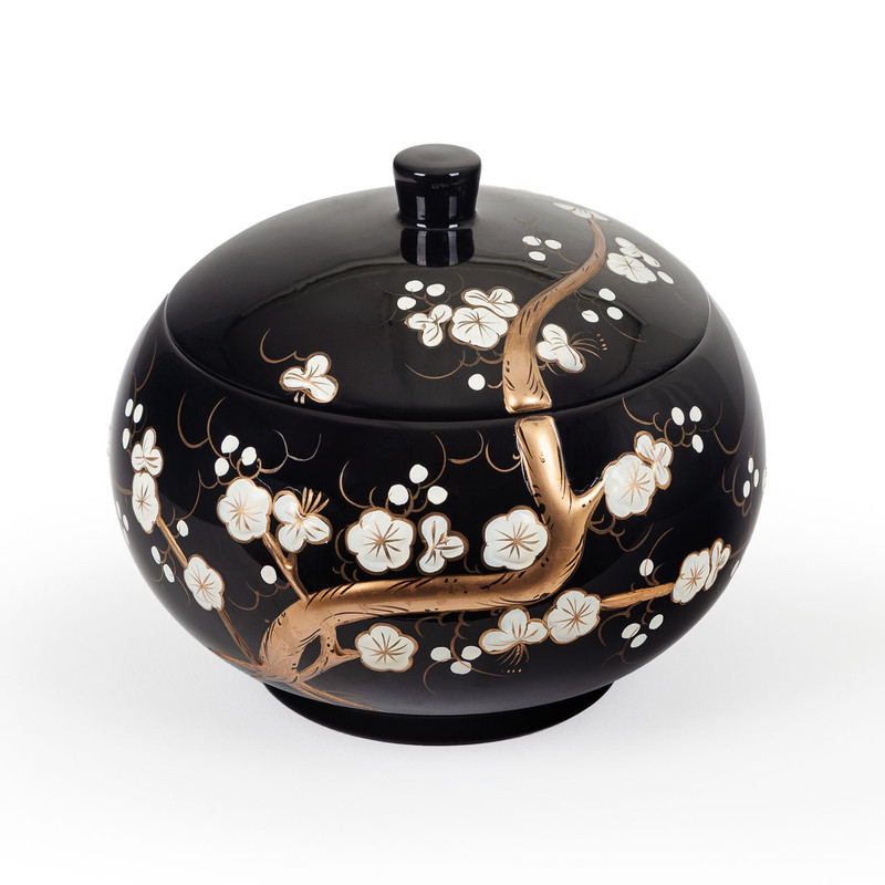 Black Lacquer Oriental Storage Bowl Cherry Blossom Design