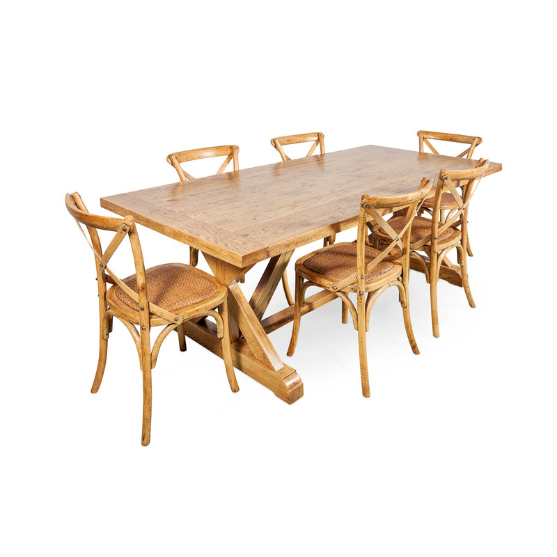 Oak Dining Table with Crossback Chairs