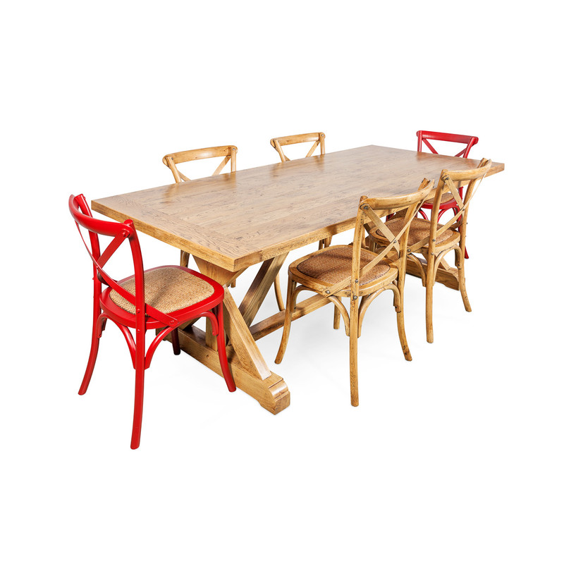 Solid Oak Dining Table and Crossback Chairs