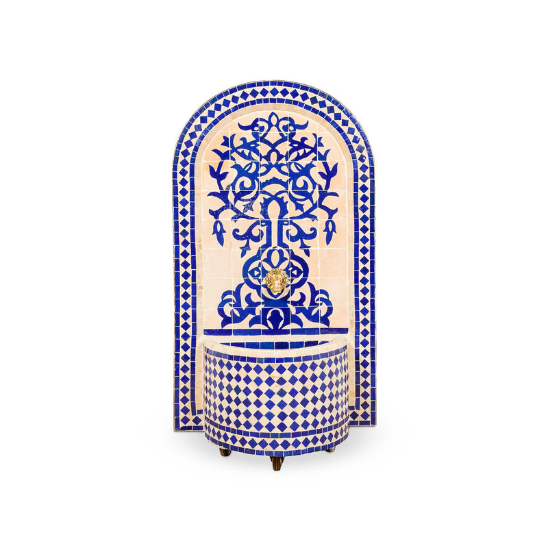 Moroccan Tile Water Fountain Blue