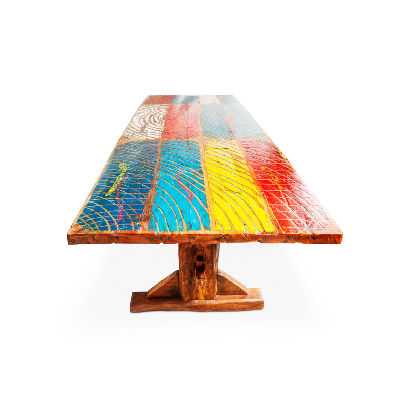 recycled boat timber dining table