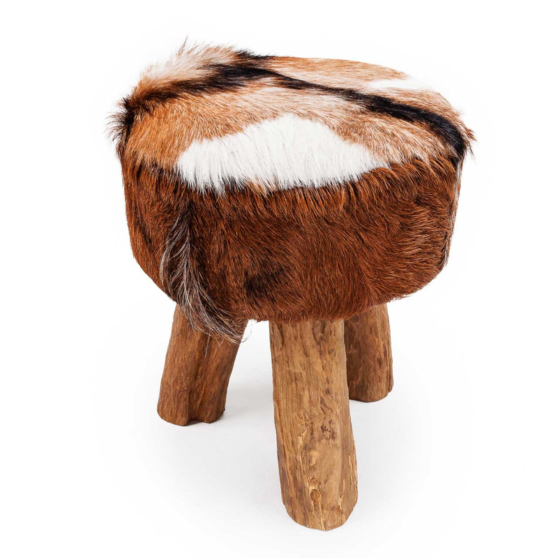 Goat Hide Stool - this sumptuous goat hide and driftwood stool or side table adds a touch of exotic splendour to your living space. Sure to be a talking point, each piece is slightly different due to the natural goat skins and driftwood pieces used to hand craft each storage stool. Indicative image, side view.