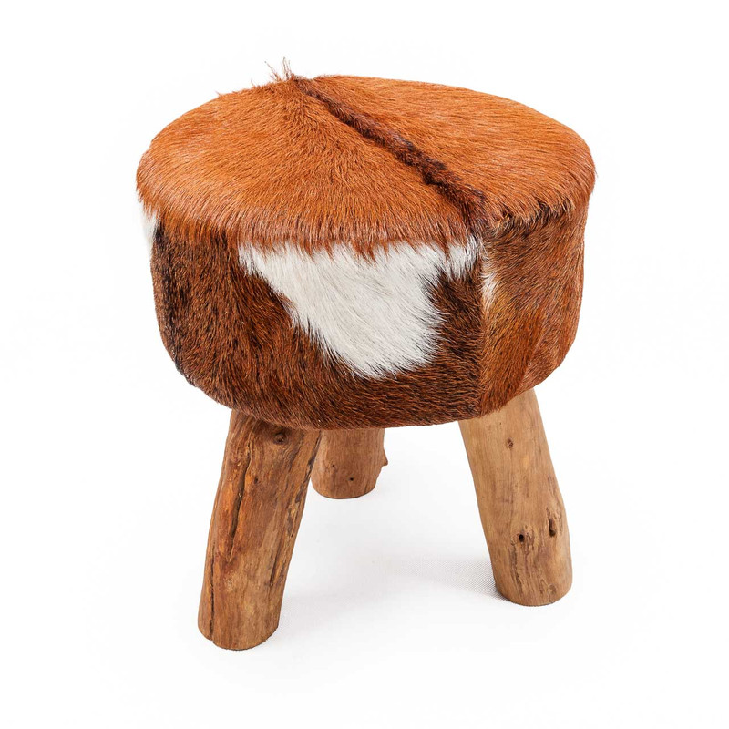 Goat Hide Stool - this sumptuous goat hide and driftwood stool or side table adds a touch of exotic splendour to your living space. Sure to be a talking point, each piece is slightly different due to the natural goat skins and driftwood pieces used to hand craft each storage stool. Indicative image, front view.