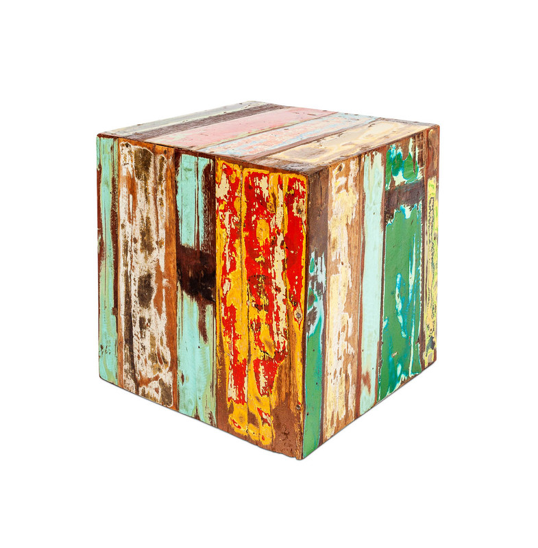 Boat Timber Cube Side Table