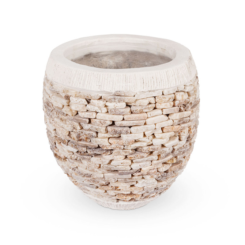 Quartz Pebble Stone Plant Pot Medium - add character to your entryway or garden design with this hand crafted quartz pebble stone plant pot. Available in a range of sizes, each plant pot is crafted from natural materials set in concrete, adding texture and visual appeal.
