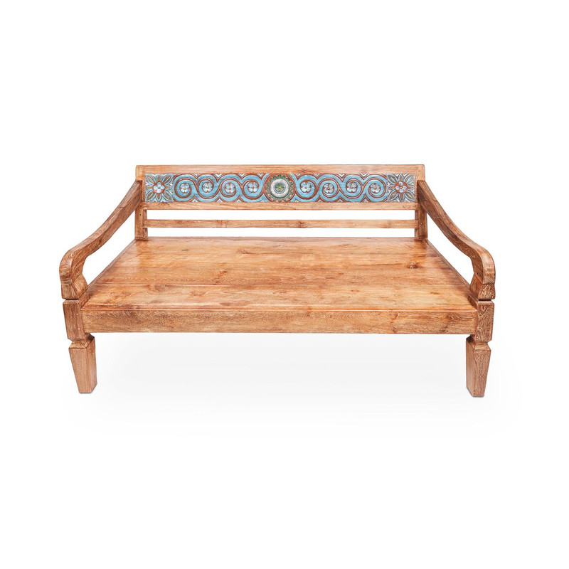 Teak Day Bed - hand crafted teak daybed suitable for indoor or outdoor use. Featuring a carved and intricately painted back rest, this recycled timber daybed is the ultimate in outdoor luxury seating. Includes seat cushion (not pictured). Front view.