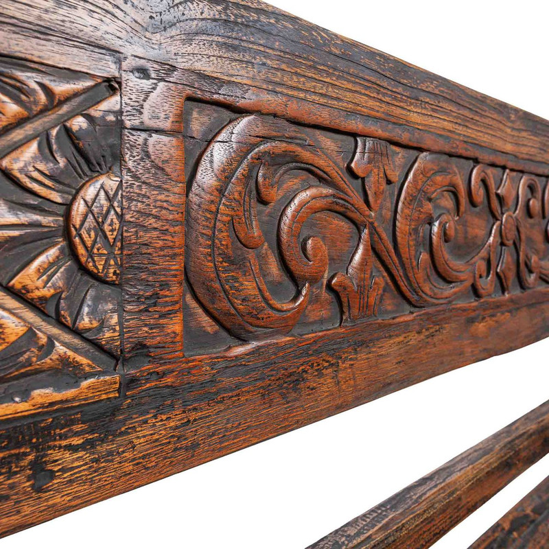 Hand Carved Teak Day Bed - hand crafted teak daybed suitable for indoor or outdoor use. Comes with seat cushion. Detail view.