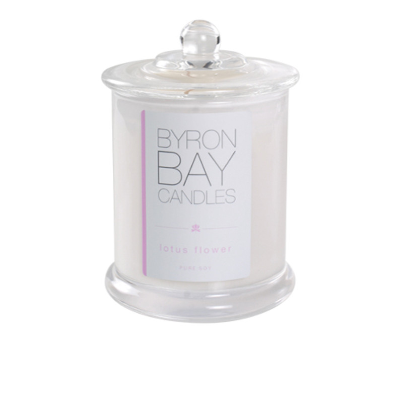 Byron Bay Candle Lotus Flower - A richly sensual oriental fragrance with layers of perfect white lotus, delicately woven with threads of vanilla and patchouli. Pure soy scented candle.
