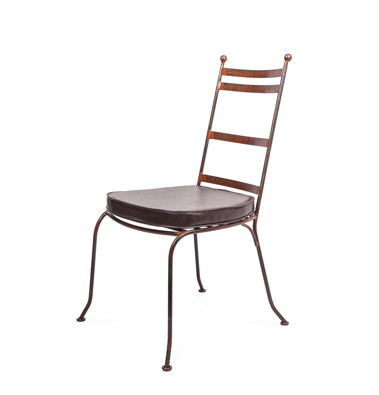 Valerie Chair - hand shaped Moroccan wrought iron dining chair, perfectly suited to indoor or outdoor use. With seat cushion.