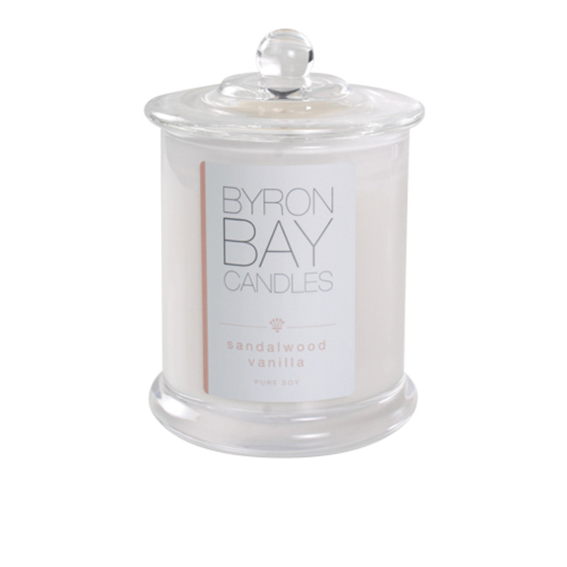 Byron Bay Candle Sandalwood Vanilla - Warm rich tones of sandalwood combined with orchid, jasmine and a creamy vanilla overlay, a beautiful smooth and sensual woody fragrance invoking the call of the orient. Pure soy scented candle.