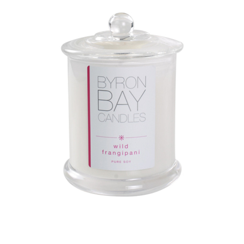 Byron Bay Candle Wild Frangipani - A rich tropical fragrance containing elements of pure frangipani essential oil, a summer classic. Pure soy fragranced candle.