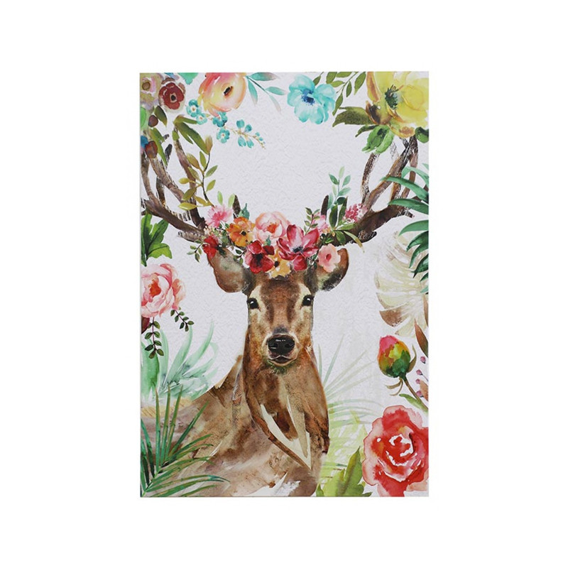 Floral Deer Canvas - vibrant wall art featuring a deer head with blossoms and buds will add a splash of colour to your entryway or favourite space. Deer head canvas wall art.