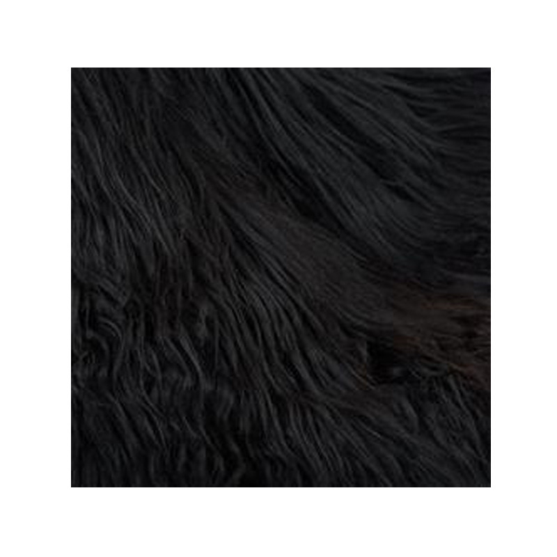 Icelandic Sheepskin Black Brown. Add warmth, texture and luxury to your space with this naturally silky soft Icelandic sheepskin throw rug in black brown. Detail view.