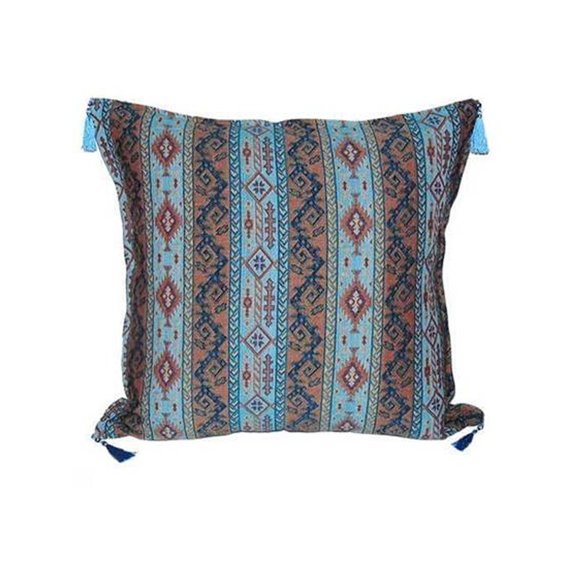 Our Turkish Cushion Bir is created using the highest quality fabrics with traditional Turkish designs. Ottoman period fabrics were highly regarded by the court as the pinnacle of textile workmanship.  Featuring bright and contrasting colours, our Turkish Cushion Bir will bring life and vibrancy to every setting. Front view.