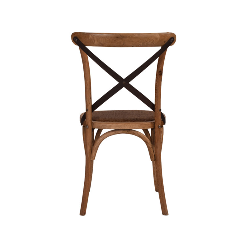 Crossback Chair Oak Dark Aged Metal Strap  - classic cross back chair design perfect for Hamptons, French Provincial, or Industrial themes. Suitable for residential or commercial dining settings. Aged dark metal strap adds character and charm to this timeless crossback dining chair. Rear view.