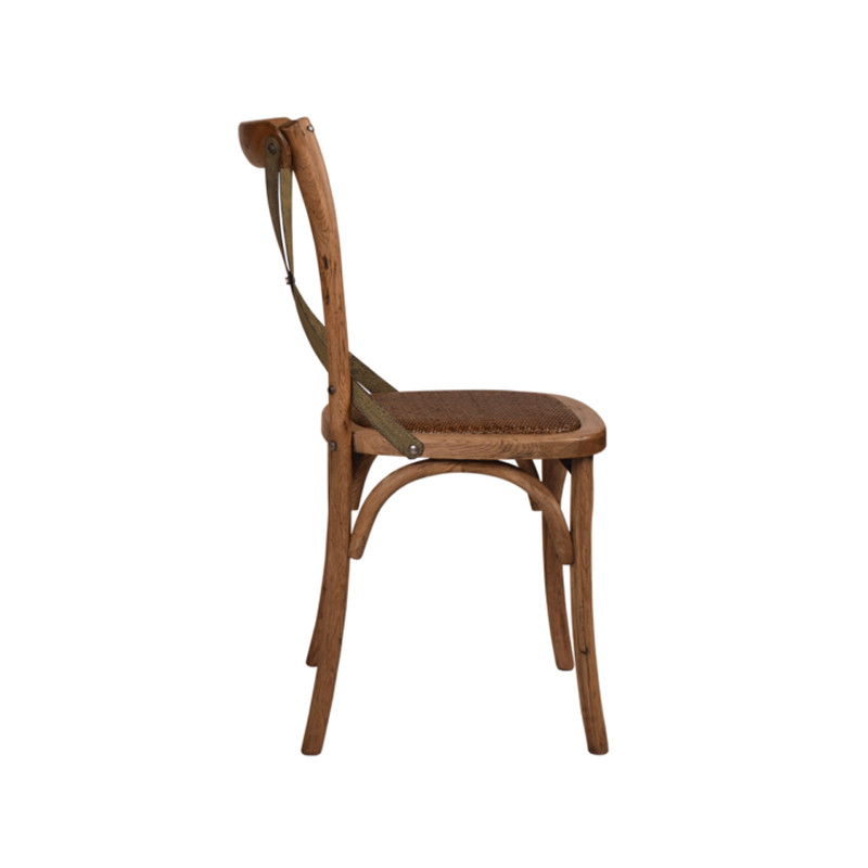 Crossback Chair Oak Grey Aged Metal Strap   - classic cross back chair design perfect for Hamptons, French Provincial, or Industrial themes. Suitable for residential or commercial settings. Verdi-green grey metal strap adds character and charm to this timeless crossback dining chair. Side view.