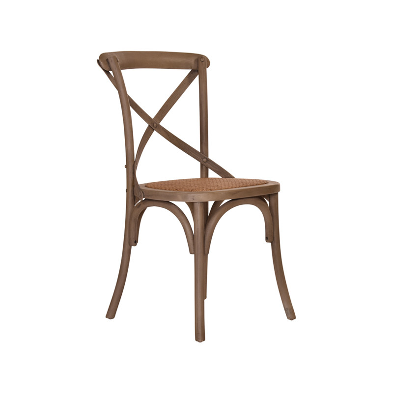 Crossback Chair in Washed Grey  - timeless cross back chair design perfect for Hamptons, French Provincial, or Industrial themes. Suitable for residential or commercial settings. Three quarter view.