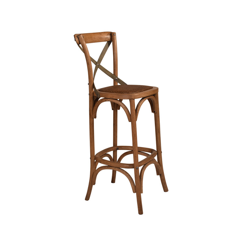 Crossback Stool Oak with Dark Aged Metal Strap - timeless bar or counter stool cross back design perfect for Hamptons, French Provincial, or Industrial themes. Suitable for residential or commercial. Three quarter view.