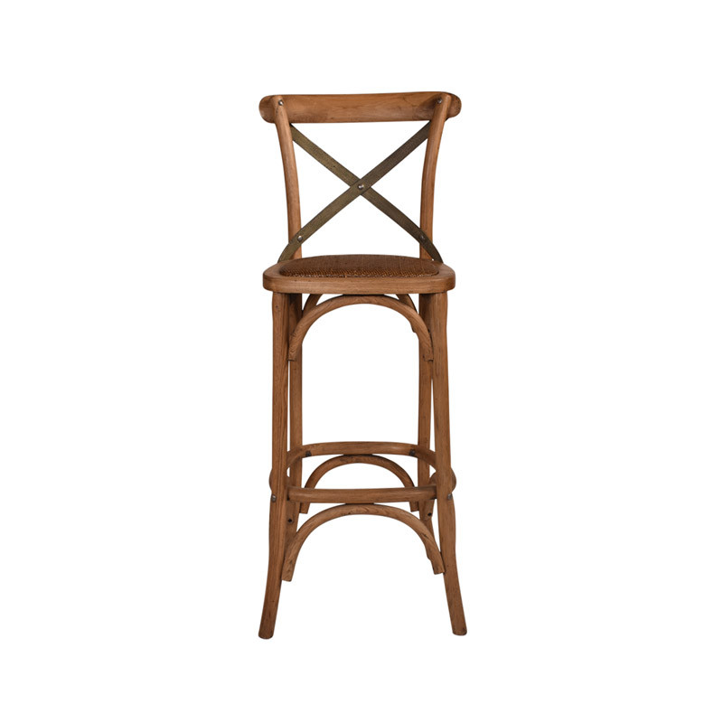 Crossback Stool Oak with Dark Aged Metal Strap - timeless bar or counter stool cross back design perfect for Hamptons, French Provincial, or Industrial themes. Suitable for residential or commercial. Front view.