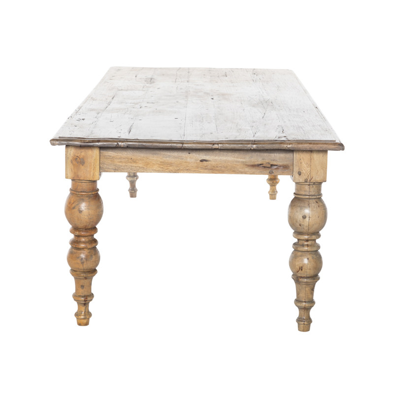 Cadence Dining Table - Cannon Leg French Provincial Table easily seating 10-12 people. A large dining table carefully crafted from reclaimed timber, the Cadence Dining Table is filled with character and will stand the test of time. Suitable for Hamptons and upmarket Country styles - end view.