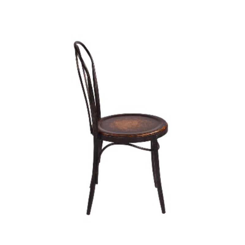 Classic bentwood Parisian Dining Chair with aged iron frame and oak seat, perfect for French Provincial or rustic design themes - side view